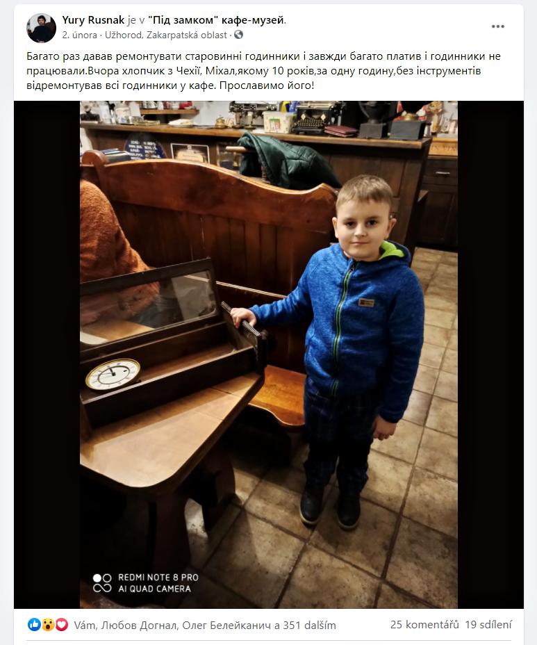 Michal opravář starých hodin a hodinek v Užhorodu